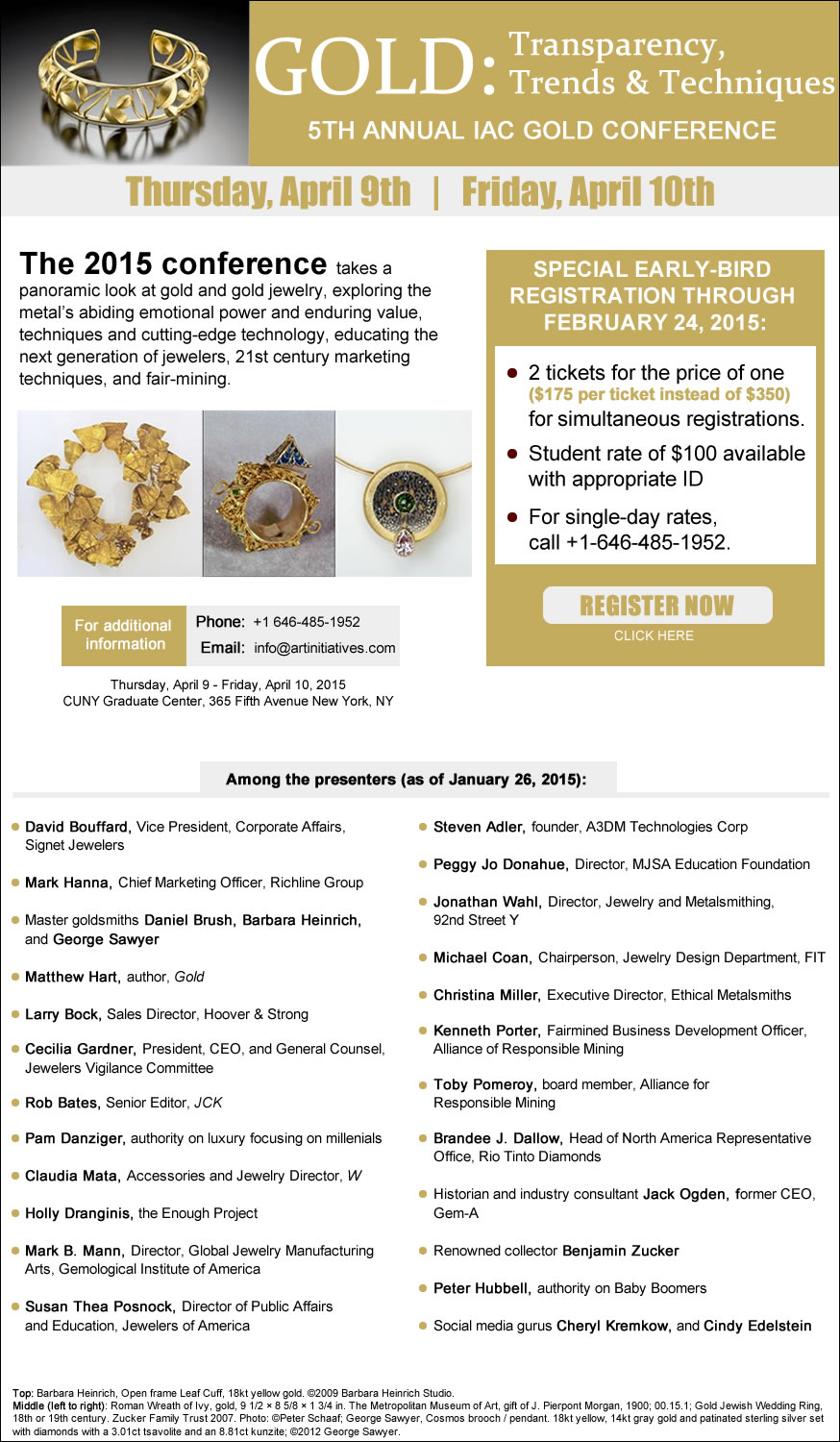 "Click Here To Register For ""Gold: Transparency, Trends, and Techniques - Fifth Annual Gold Conference"""